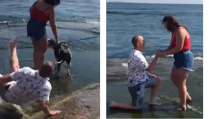 Viral video: గాళ్ఫ్రెండ్కి ప్రపోజ్ చేయబోయి చెరువులో పడ్డాడు