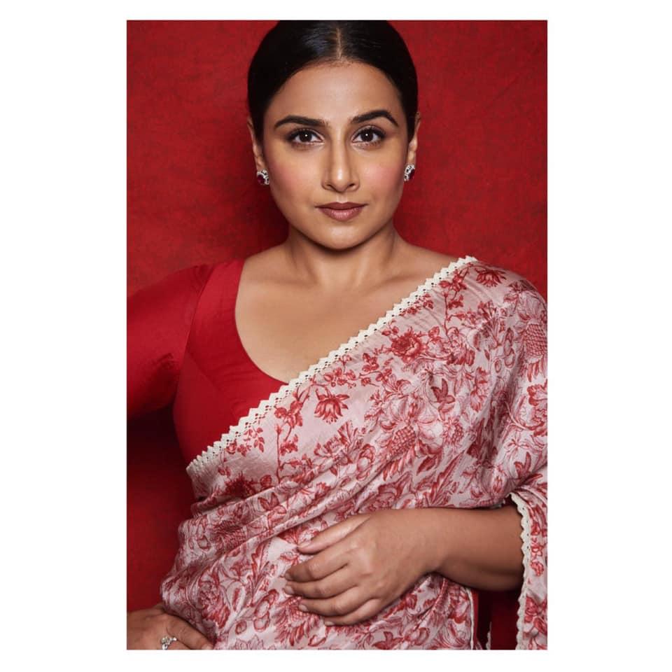 Vidya Balan PhotoShoot in Saree Before Shankutala Devi Film