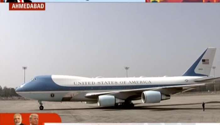US President Donald Trump reaches Ahmedabad airport in Air force 1 special flight
