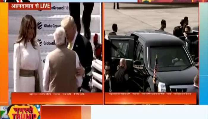 Video : US President Donald Trump-PM Narendra Modi`s road show started from Ahmedabad airport